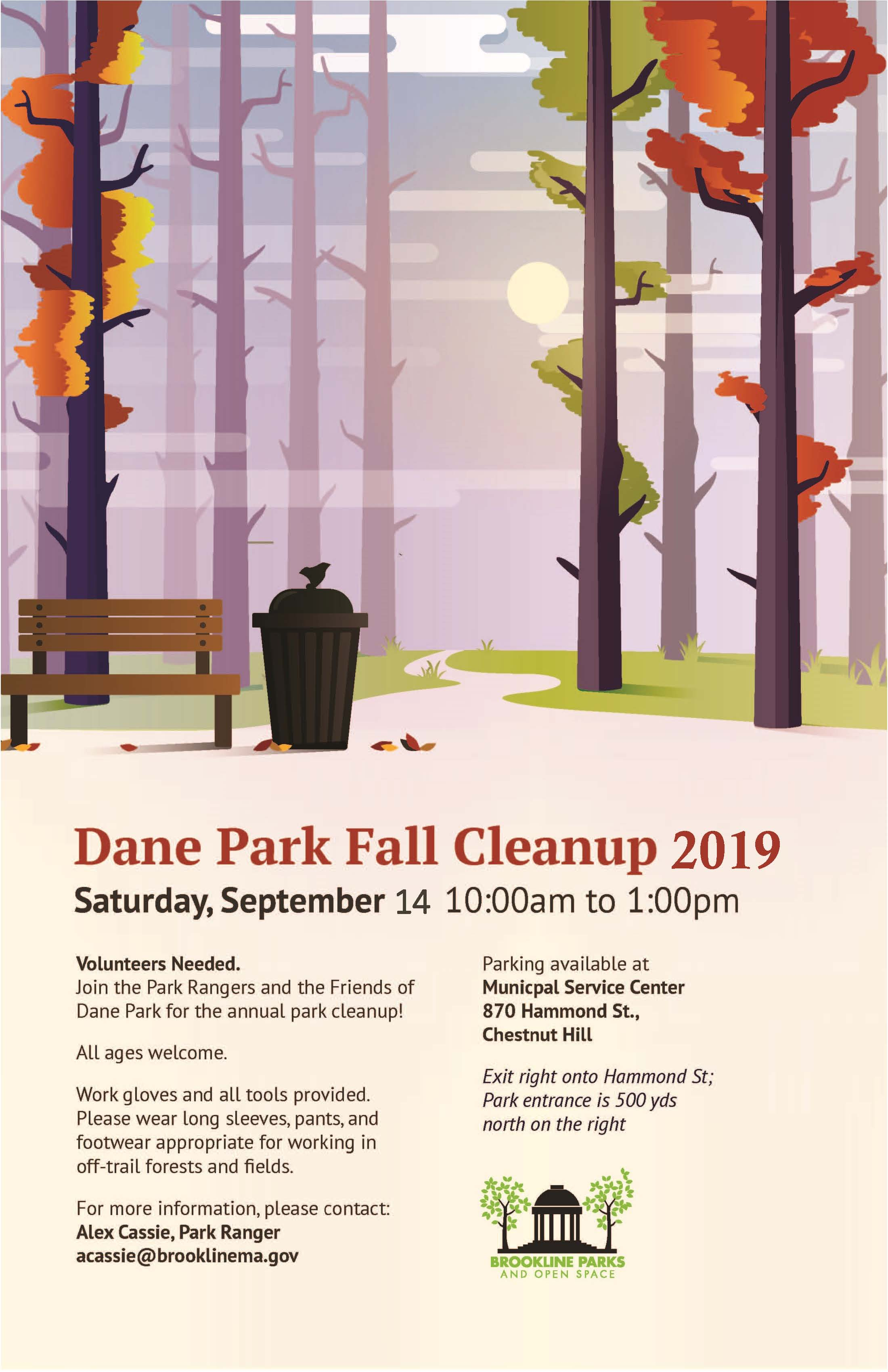 Picture of wooded park in the autumn with bench and  trash can. Volunteers Needed. Saturday Sept. 14