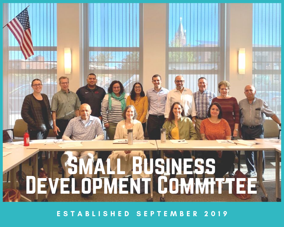 "Photo of SBDC members at inaugural meeting on 9/17/19. Text: ""Small Business Development Committe"
