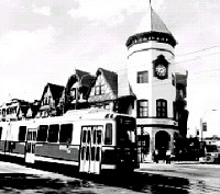 Coolidge Corner Building and Train