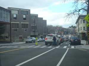 Crosswalk Stanchion and Curb Extension on Harvard Street