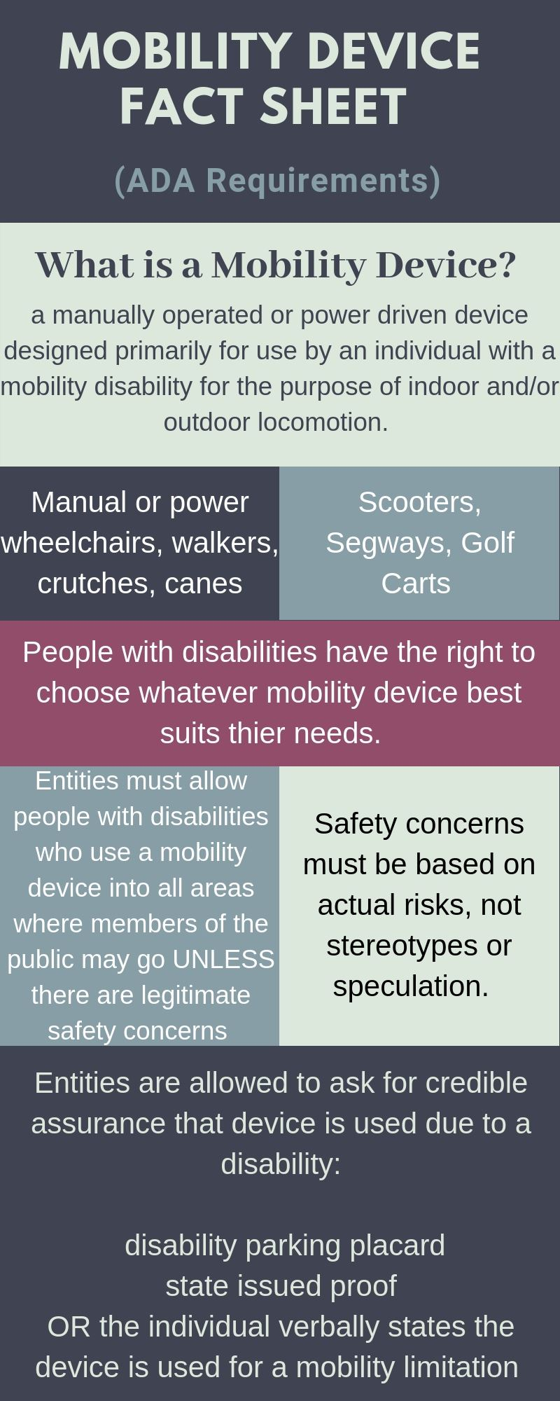 Mobility Device Fact Sheet