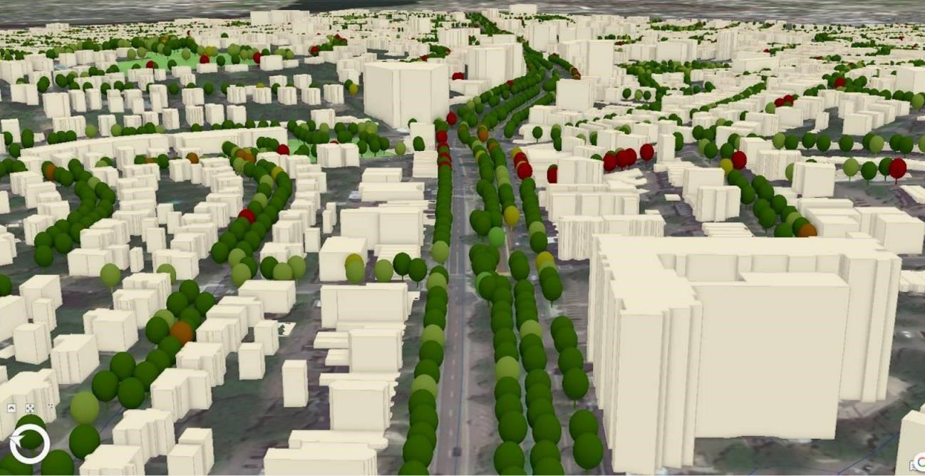 3D image of Beacon Street (South of Washington Square). Trees are depicted along the street in varyi