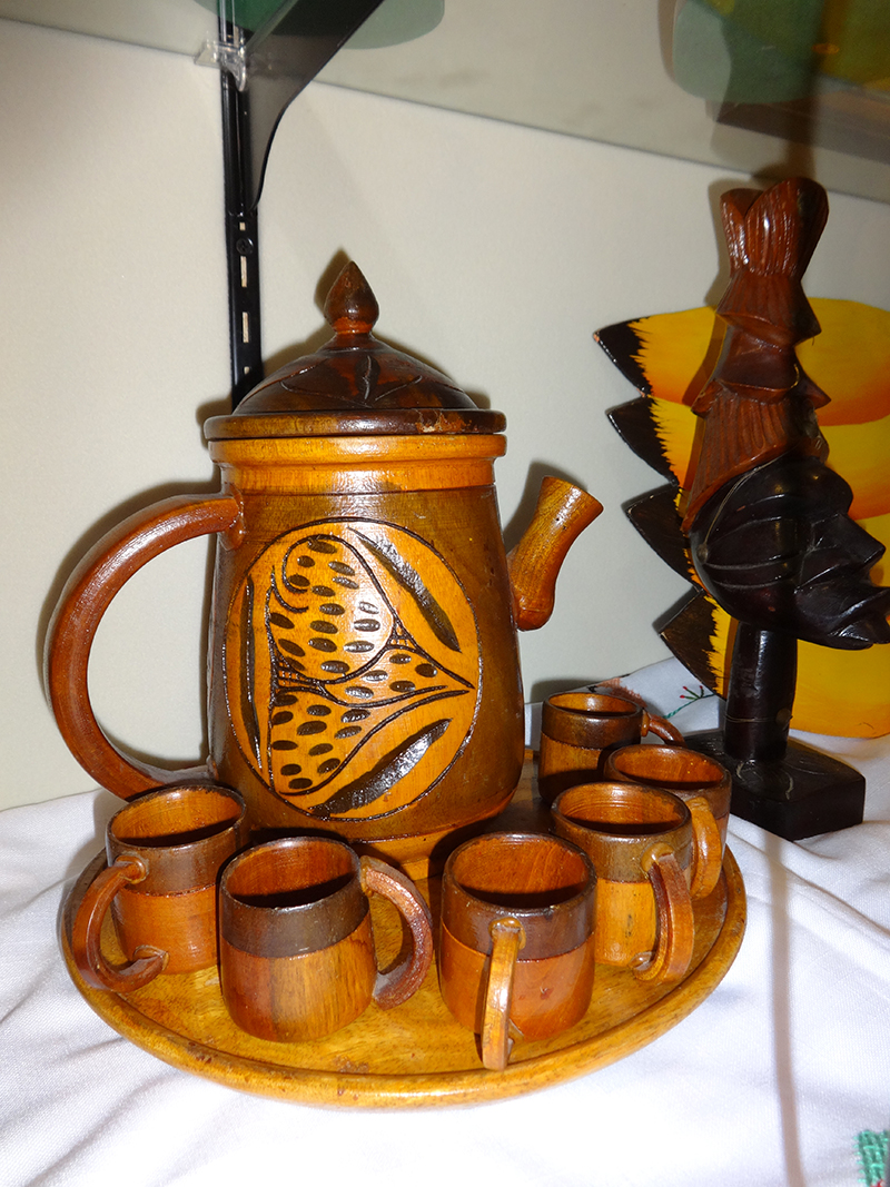 Wood Carving Tea Set